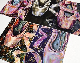 Ballet Pointe Shoe postcard prints - set of 5 prints