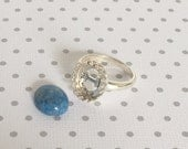 Sterling Silver Ring Kit Gallery Crown Bezel Component Mounting Denim Lapis Oval Cabochon included 10mm x 12mm