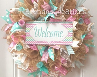 Everyday Wreath, Nursery Decor, Gifts for Her, Front Door Welcome Sign, Spring Summer Decoration, New Home Housewarming Gift, Baby Shower