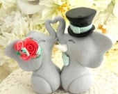 Wedding Cake Topper, Elephants in Love, Grey and Shades of Coral, Bride and Groom Keepsake