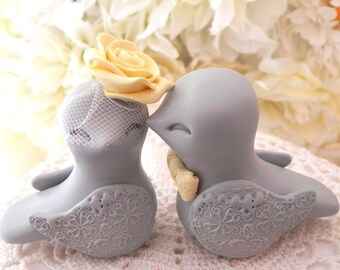 Love Birds Wedding Cake Topper, Grey and Yellow, Bride and Groom Keepsake, Fully Customizable