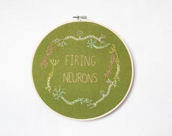 Firing Neurons Embroidery Hoop- Green