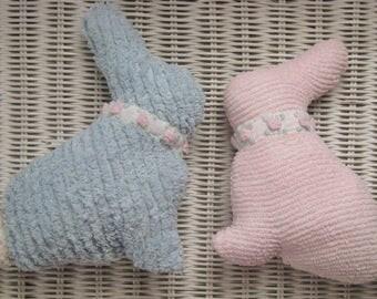 Pink (or Blue) Chenille Easter Bunny, Vintage Bedspread, w/Rosette Collar