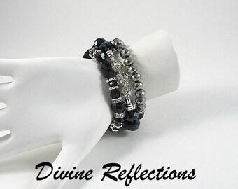 Set Black Stretch Bracelets, Black Crystal Bracelets, Black Stack Bracelets