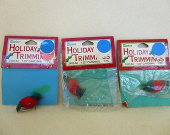 Three Cute Little Packaged (Red) Feathered Cardinal Birds by Darice