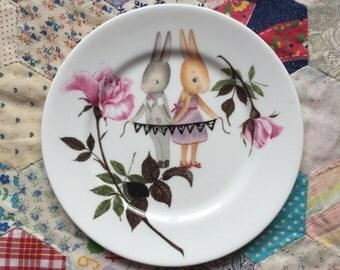 Happiness Wedding Bunnies Illustrated Vintage Plate