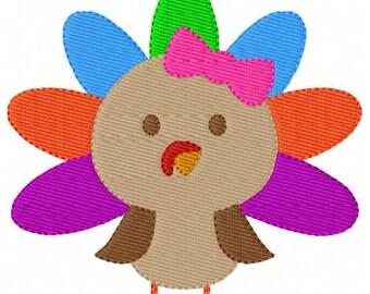 Turkey Thanksgiving Girl Machine Embroidery Design // Joyful Stitches