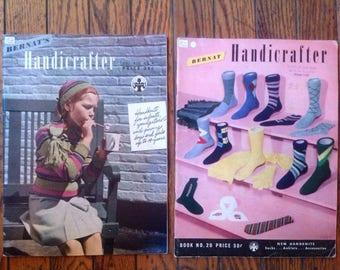 Vintage 1940's Bernat Handicrafter Knitting Magazine Lot Instructions Patterns