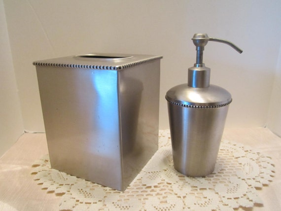 Brushed Steel Tissue Box Cover and Soap Dispenser - Vintage Bathroom Vanity or Kitchen Accessories - Two Piece Set