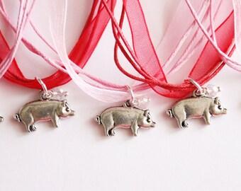 Pig Party Favors Necklace, Pig Necklace, Children's Jewelry, Valentine Party, Pig Valentine Party Favors, Pig Favors