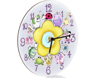 Kids Wall Clock - Nursery Clock - Nursery Wall Clock - Childrens Wall Clock - Kids Clock - Childrens Clock - Boys Clock - Girls Clock