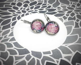 round leverback earring 12mm, pink rose flower, photograph of a tapestry in a castle in France, stainless steel studs