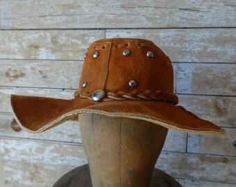 Vintage Hippie Suede Brim Floppy Hat 1970's