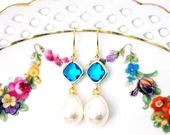 Pearl dangle earrings Blue and pearl earrings Pearl drop earrings Bridal pearl teardrop earrings Gift Pearl earrings Bridesmaid earrings