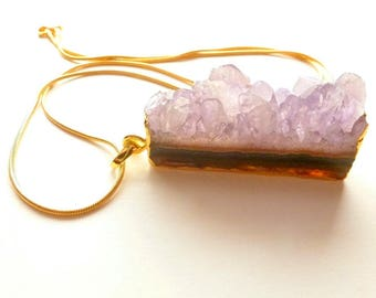 Amethyst Crystal Necklace, Natural Raw Stone, Gemstone Slice Pendant, Birthstone Jewelry for Women