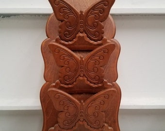 Vintage Wooden Butterfly Mail/Key Holder