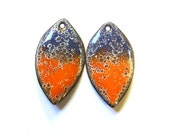 Handcrafted earring parts Enameled copper charms Purple orange enamel components Rustic leaf earring findings Vitreous enamel