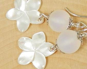 Mother of Pearl Plumerias, Matte Opal Glass and Sterling Silver Earrings