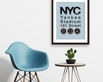 NYC Yankee Stadium 161 Street (The Traveling Type Series) - Unframed Art Print (featured in Oyster Bay)