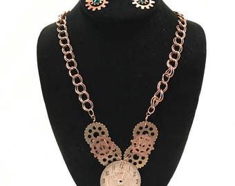 Steampunk necklace &earring set