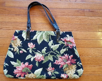 Black Floral Handbag Purse Coral Green Gold