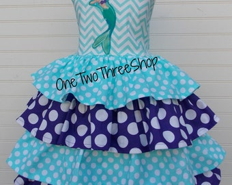 Layered ruffle Little Mermaid Ariel Inspired Jumper Dress Custom Boutique Clothing