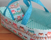 Doll Carrier, Blue Owl, Polka Dot Lining, 14 Inches Long, Great Toddler Gift