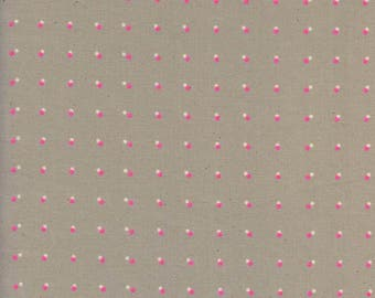 Double dots in neon pink from the Black and White 2017 fabric collection by Cotton and Steel  - 5125-02
