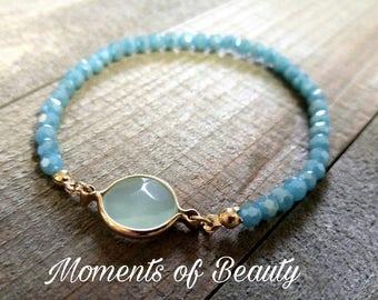 Beaded Bracelet Light Blue Bracelet Mint Bracelet Jeweled Bracelet Stretch Bracelet Blue Mint Bracelet Gold Mint Bracelet