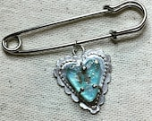 HEARTS FOR CHARITY: Prong-set Sea Glass heart on Sterling Silver, scalloped Sweater pin/Brooch and Pendant, 50% of profits goes to charities