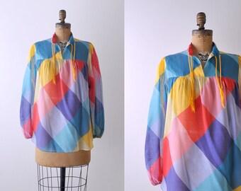 1980's rainbow plaid blouse. diamond block. 80's peasant top. sheer cotton. large.