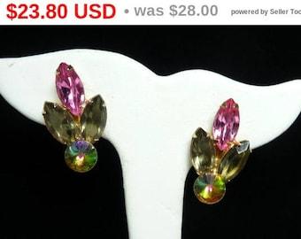 Spring Sale Vintage Rhinestone Earrings - Pink and Smokey Marquis & Green Watermelon Rivoli - Mid Century Clip ons