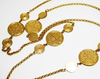 Etruscan Station Chain Necklace - Round Gold Plated Faux Coins, Tokens and Chains Designer Signed K. Amato - Retired Vintage Modern 1990's