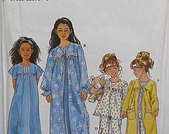 Children's, Girl's Sleepwear, Robe, Nightgown, Pajamas, PJs, Simplicity 8488 Sewing Pattern UC Sizes 3-4-5-6