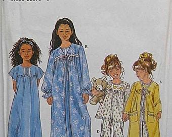 Children's, Girl's Sleepwear, Robe, Nightgown, Pajamas, PJs, Simplicity 8488 Sewing Pattern UC Sizes 3-4-5-6