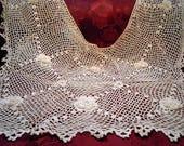 Antique Lace Edwardian Irish Lace Cotton Square Neck Collar