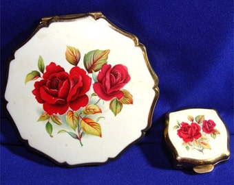 1959 Vintage 2 Pc. Roses COMPACT Set w/ Pill Box STRATTON of England
