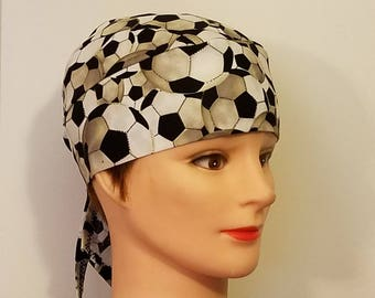 Soccer Ball Skull Cap, Helmet Liner, Chemo Cap, Hair Loss, Alopecia, Handmade, Head Wrap, Hats, Sports, Athletics, Soccer, Motorcycle