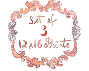 Set of three 12X16 prints - Any three 12X16 posters - Custom Lucileskitchen watercolor painting posters - Art print set - Kitchen decor