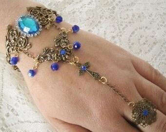 Slave Bracelet medieval jewelry renaissance jewelry gothic jewelry victorian art nouveau art deco tudor neo victorian hand flower hand chain