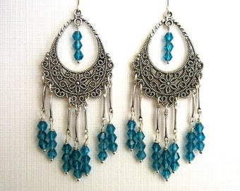 Teal Blue Crystal Chandelier Earrings Antique Silver Filigree Chandelier Earrings