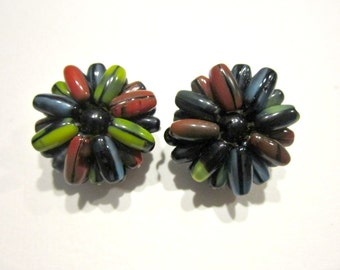 Vintage Glass Clip Earrings Signed W Germany Beaded Colorful Earrings Vintage Jewelry Gift for Her Under 10