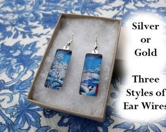 Hiroshige earrings, drum bridge earrings, winter scene, snowy river, Japanese landscape, art earrings, small glass earrings