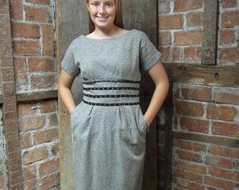 On Sale Vintage 1960s Dress/ Wiggle Dress / Working Girl Dress/ Secretary Dress/ Gray Black Striped 648