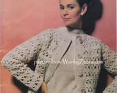 Crochet cardigan plus knitted sweater twinset Vintage Pattern PDF 933 from WonkyZebra