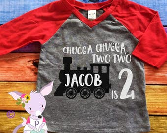 Chugga Chugga Two Two Kids Birthday Shirt Train Birthday Shirt Name 2nd birthday train shirt chugga chugga two two Shirt Kids Shirt Boy