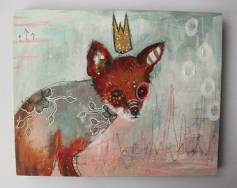 folk art Original fox painting whimsical boho mixed media abstract art painting on wood panel 8x10 inches - The fool who would be king