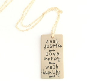 Seek Justice Love Mercy Walk Humbly Bronze Rectangle Layering necklace hand stamped