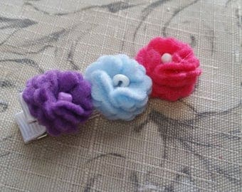 Extra Large Triple Felt Flower Hair Clip / Non Slip Hair Clip / Ready To Ship