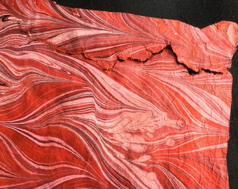 I'm Torn - Extra Large Hand Marbled Lokta Art Paper Gray Pink Red and Black on Red Paper Discounted